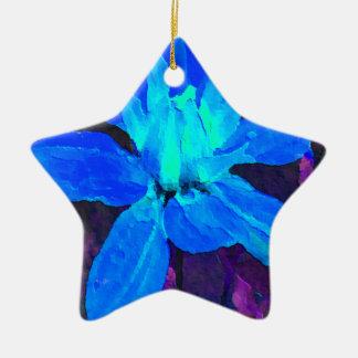 Spinderok -青いダリア 陶器製星型オーナメント