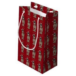 Spinone Italiano dunkel Santa スモールペーパーバッグ