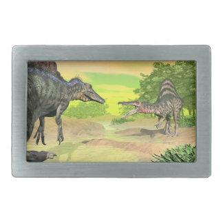 Spinosaurusの恐竜の戦い- 3Dは描写します 長方形ベルトバックル