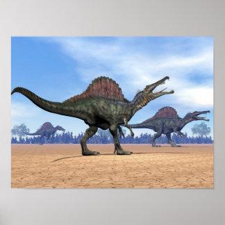 Spinosaurusの恐竜の歩行- 3Dは描写します ポスター