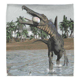 Spinosaurusの恐竜の食べ物の魚- 3Dは描写します バンダナ