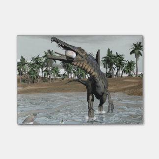 Spinosaurusの恐竜の食べ物の魚- 3Dは描写します ポストイット