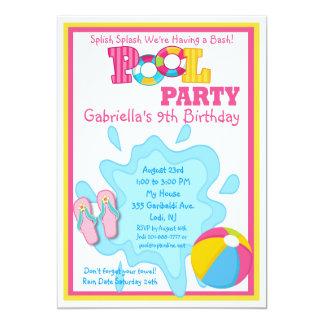Splishのしぶきの女の子のプールのパーティの招待状 カード