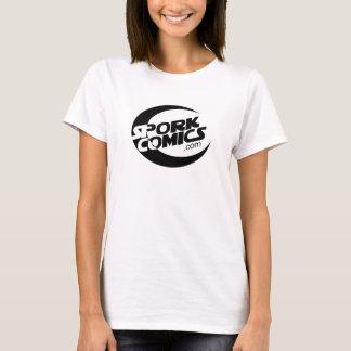 Sporkの漫画の基本的な女の子のTシャツの白 Tシャツ