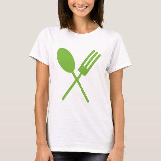 Sporkの緑の女性のティー Tシャツ