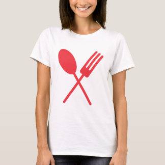 Sporkの赤い女性のティー Tシャツ