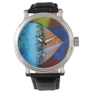 Spraypaintingのギターのピラミッドの水道 腕時計