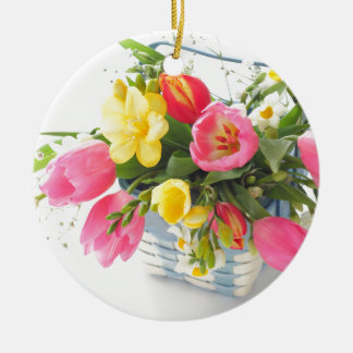 Spring flowers in basket セラミックオーナメント