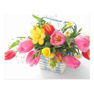 Spring flowers in basket ポストカード