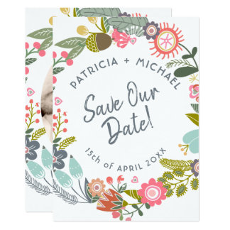 Spring wedding meadow blooms photo save date カード