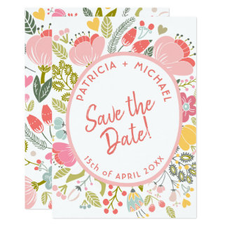 Spring wedding meadow blooms save the date カード