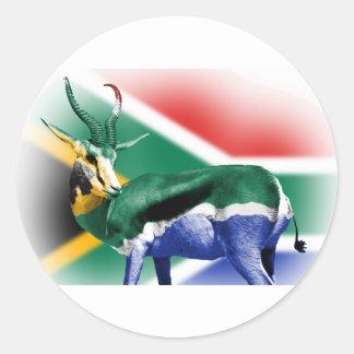Springbockの南アフリカの旗 ラウンドシール