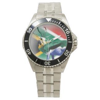 Springbockの南アフリカの旗 腕時計
