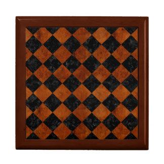 SQUARE2黒い大理石及びブラウンの節玉木 ギフトボックス