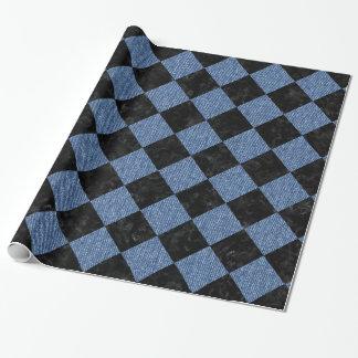SQUARE2黒い大理石及び青いデニム ラッピングペーパー