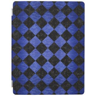 SQUARE2黒い大理石及び青によってブラシをかけられる金属 iPadスマートカバー