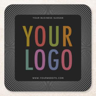 Square Black Pulpboard Paper Coasters Companyのロゴ スクエアペーパーコースター