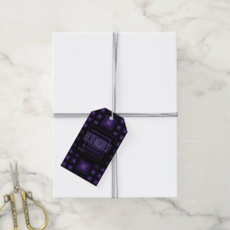 Squareception (正方形パターン)の紫色 ギフトタグ