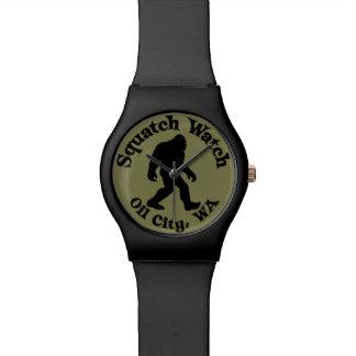 Squatchの腕時計の油都市、WAの黒およびオリーブ 腕時計