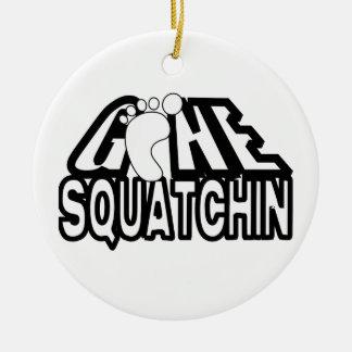 Squatchinの行った白黒ロゴ セラミックオーナメント