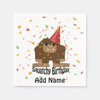 Squatchyのかわいい誕生日ビッグフット スタンダードカクテルナプキン