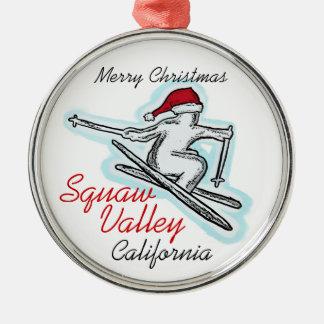 Squaw Valleyカリフォルニアサンタのスキーヤーのオーナメント メタルオーナメント