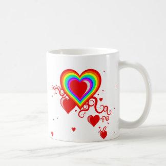 squiggleのハート。 rainbowz. コーヒーマグカップ