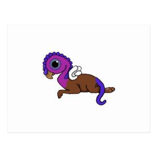 Squite紫色及び青に小型にGryphonの置くこと ポストカード