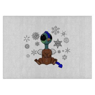 Squite青および緑の(小型のGriffon)の雪片 カッティングボード