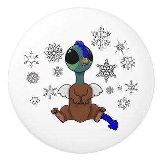 Squite青および緑の(小型のGriffon)の雪片 セラミックノブ