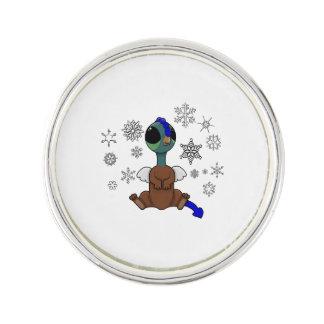 Squite青および緑の(小型のGriffon)の雪片 ラペルピン