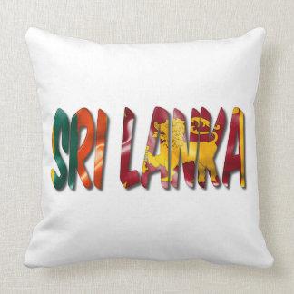 Sri Lanka Word With Flag Texture Throw Pillow クッション