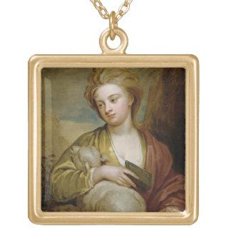 St.アグネス、伝統的にIDとして女性のポートレート ゴールドプレートネックレス