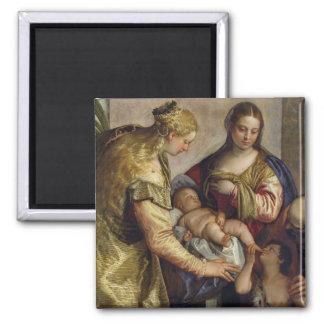 St.バーバラ、c.1550 (cを持つ神聖な家族の油 マグネット