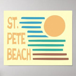 St.ピートのビーチのフロリダの幾何学的な日没 ポスター