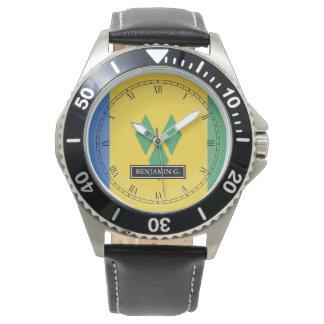 ST.ヴィンチェンツォの旗の名前をカスタムする 腕時計