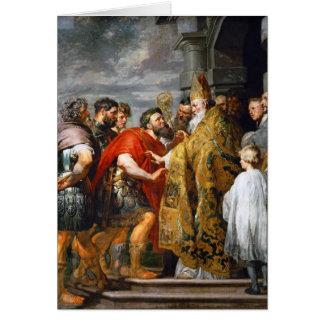 St Ambroseおよび皇帝TheodosiusポールRubens カード