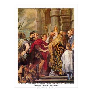 St Ambroseおよび皇帝Theodosius ポストカード