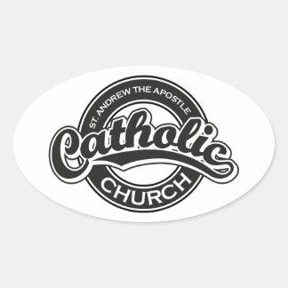 St Andrew使徒のカトリック教会の黒 楕円形シール