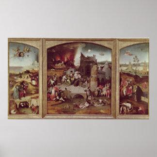St Anthonyの誘惑のトリプティク ポスター