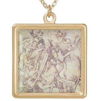 St Anthony (版木、銅版、版画)の誘惑 ゴールドプレートネックレス
