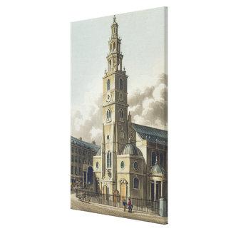 St Clementのデンマーク人教会、パブ。 ルドルフAckerman著 キャンバスプリント