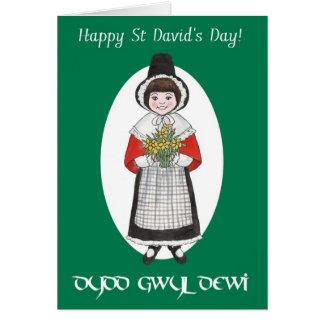 St Davidの日、ウェールズの衣裳、二か国語カード カード
