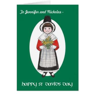 St Davidの日、ウェールズの衣裳、個人化なるべきカード カード