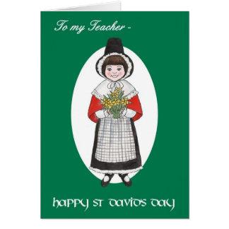 St Davidの日、先生のためのウェールズの衣裳、 カード