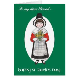 St Davidの日、友人のためのウェールズの衣裳、 カード