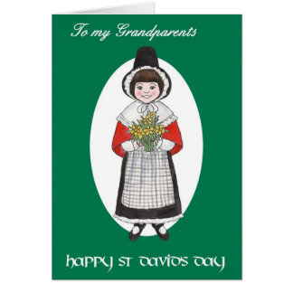 St Davidの日、祖父母のためのウェールズの衣裳、 カード