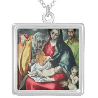 St.Elizabeth 1580-85年の神聖な家族 シルバープレートネックレス