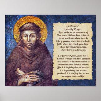 St. Francisの平静の祈りの言葉 ポスター