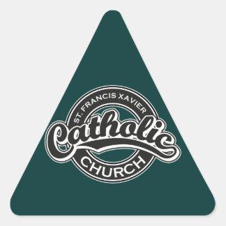 St Francisサビエルのカトリック教会の白黒 三角形シール